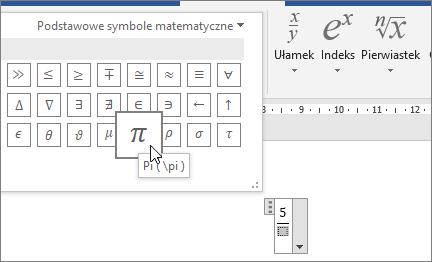Wybierz symbol (Pi) dla symbolu zastępczego w strukturze równania