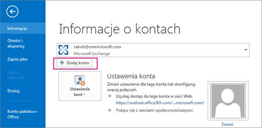 Aby dodać konto usługi Gmail do programu Outlook, kliknij przycisk Dodaj konto