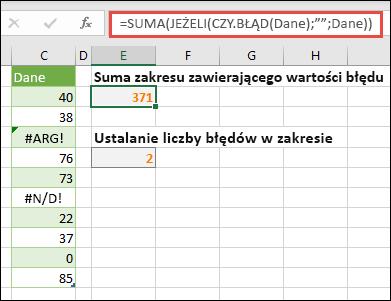 """Używaj tablic do rozwiązywania problemów z błędami. Na przykład funkcja = suma (jeżeli (wartość. błąd (dane), """""""", dane """"spowoduje zsumowanie zakresu o nazwie dane, nawet jeśli zawiera on błędy, takie jak #VALUE! lub #NA!."""