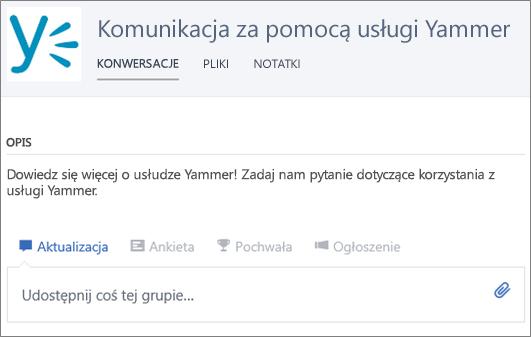Przykładowa grupa zajmująca się komunikacją za pomocą usługi Yammer