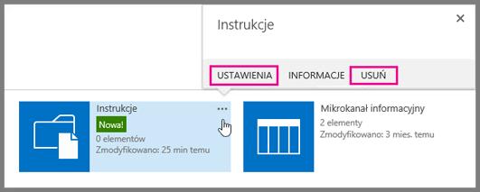 Aby zmienić nazwę biblioteki dokumentów lub ją usunąć, kliknij wielokropek.