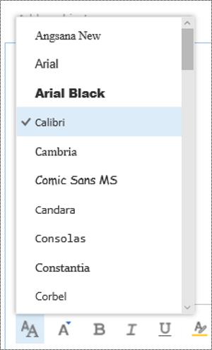 Zmienianie typu czcionki w aplikacji Outlook w sieci Web.