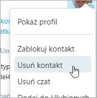 Zrzut ekranu przedstawiający opcję kontaktu Usuń w menu kontekstowym kontaktów programu Skype