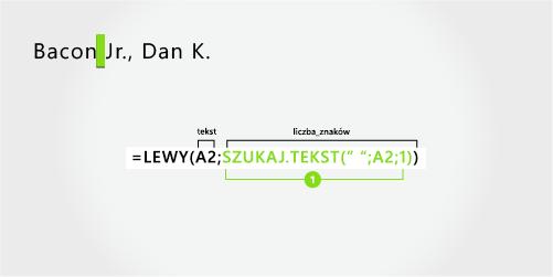 Formuła wyodrębniająca nazwisko i sufiks na początku z przecinkiem