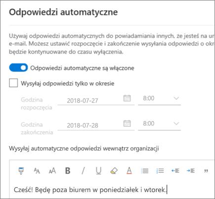 Tworzenie odpowiedzi z informacją o nieobecności w aplikacji Outlook w sieci Web