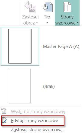 Edytowanie stron wzorcowych w programie Publisher 2013.