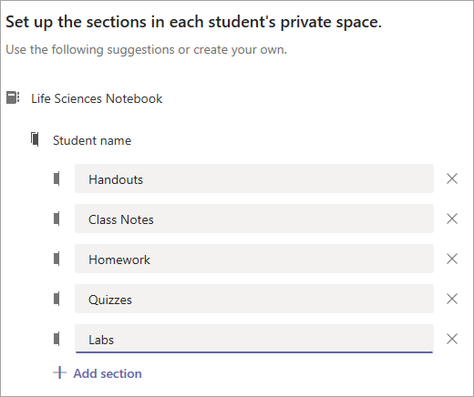 Skonfiguruj sekcje w obszarze prywatnym każdego ucznia.