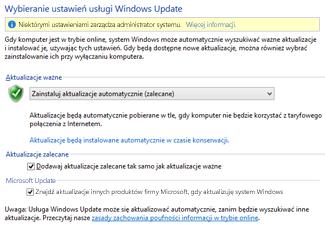 Pozycja Ustawienia usługi Windows Update w Panelu sterowania systemu Windows 8