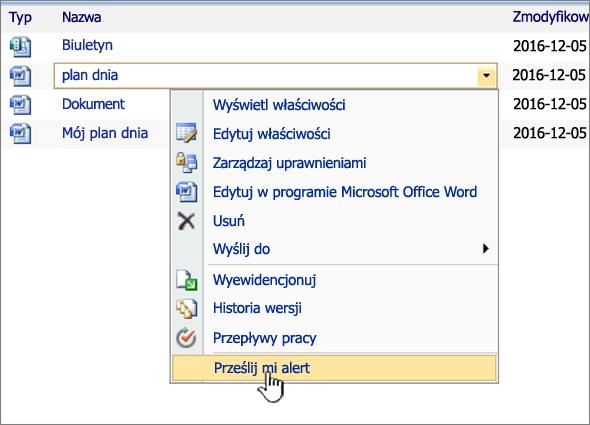 SharePoint 2007 listy rozwijanej z alertem mnie wyróżnione