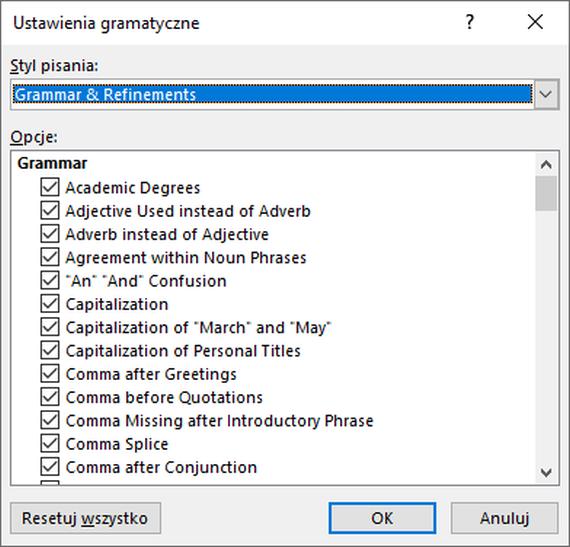 Okno dialogowe Gramatyka i więcej