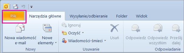 W programie Outlook 2010 wybierz kartę Plik.