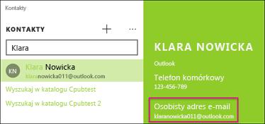Kontakt musi mieć prawidłowy adres e-mail