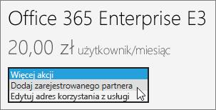 Wybieranie pozycji Dodaj zarejestrowanego partnera