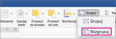 Aby rozpuścić grupowanie, kliknij pozycję Rozgrupuj na karcie Formatowanie kształtu lub kartę Formatowanie obrazu.