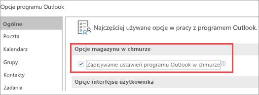 Pokazuje opcje ustawień programu Outlook