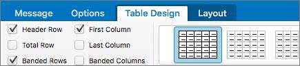 Zrzut ekranu przedstawiający pole wyboru Wiersz nagłówka