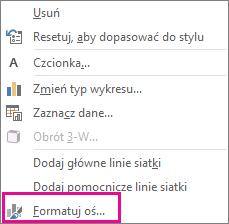 Polecenie Formatuj oś w menu skrótów