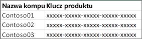 Przykład dwukolumnowej listy kluczy produktu.