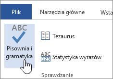 Przycisk Pisownia i gramatyka na wstążce Recenzja