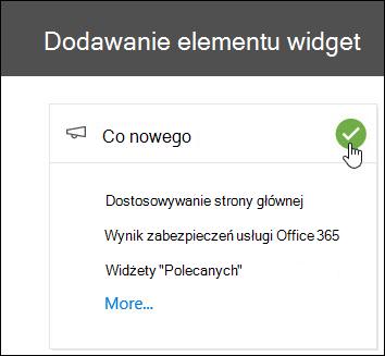 Zrzut ekranu: menu wysuwane Dodawanie elementu Widget w grupie zabezpieczeń i Centrum zgodności
