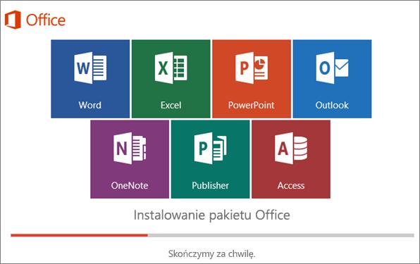 Okno z postępem instalacji pakietu Office