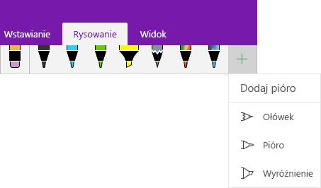 Menu Rysowanie z menu rozwijanym umożliwiającym dodanie pióra niestandardowego