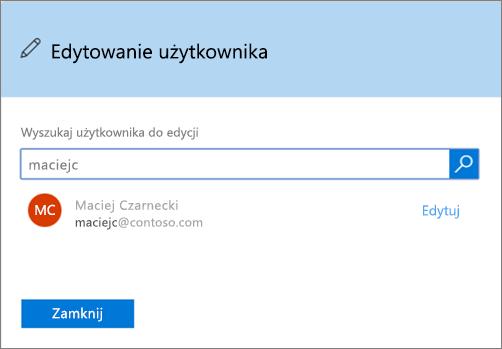 Zrzut ekranu przedstawiający okno Edytowanie użytkownika w usłudze Office 365