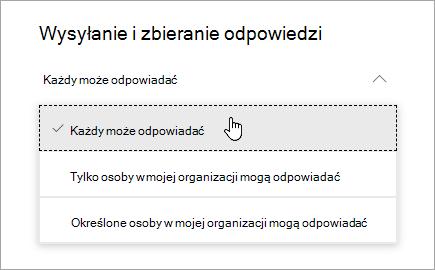 Opcje udostępniania dla programu Microsoft Forms