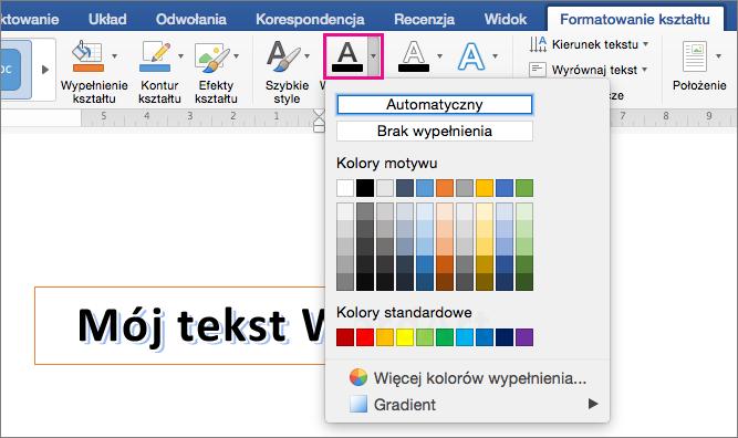 Karta Formatowanie kształtu z wyróżnioną opcją Wypełnienie tekstu.
