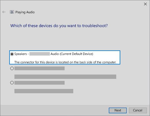 wybieranie urządzenia w narzędziu do rozwiązywania problemów z dźwiękiem