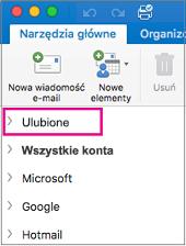 Folder Ulubione znajduje się na początku listy folderów na pasku bocznym
