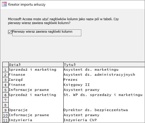 Importowanie danych zprogramu Excel