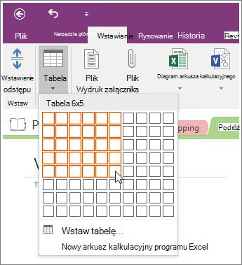 Zrzut ekranu przedstawiający dodawanie tabeli w programie OneNote 2016.