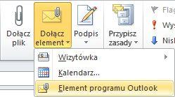 Polecenie Dołącz element programu Outlook na wstążce