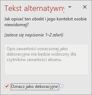 Pole wyboru Oznacz jako dekoracyjne zaznaczone w programie PowerPoint dla systemu Windows