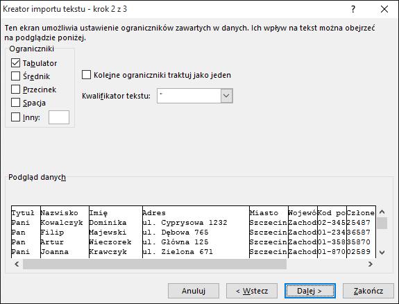 Opcje pozycji Ograniczniki są wyróżnione w Kreatorze importu tekstu.
