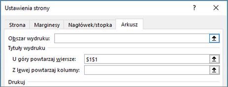 Karta Arkusz w oknie dialogowym Ustawienia strony