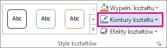 Polecenie Kontury kształtu na karcie Narzędzia do rysowania > Formatowanie