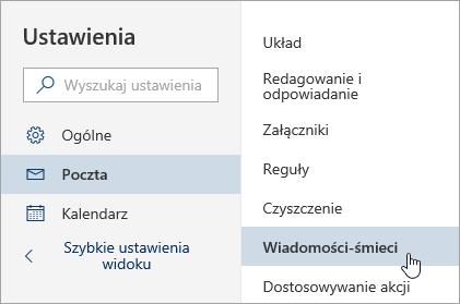 Zrzut ekranu przedstawiający menu Ustawienia z zaznaczonymi wiadomościami-śmieciami