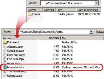 Zawartość folderu Formularze w bibliotece dokumentów