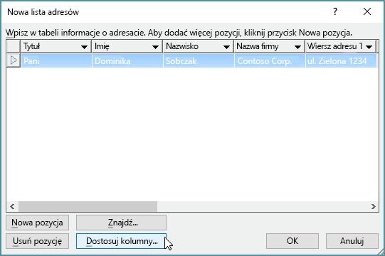 Aby dodać kolumny niestandardowe do listy adresowej, kliknij przycisk Dostosuj kolumny.