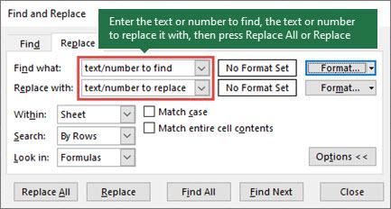 Naciśnij klawisze CTRL + H, aby uruchomić okno dialogowe Zamienianie.