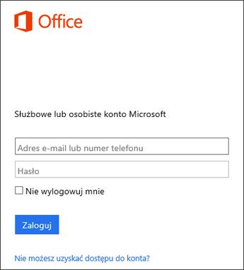 Zrzut ekranu przedstawiający stronę logowania na potrzeby instalowania pakietu Office