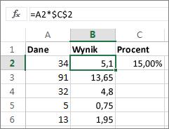 Mnożenie liczb przez procent