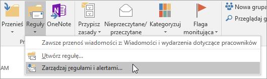 Zrzut ekranu przedstawiający przycisk Zarządzaj regułami i alertami