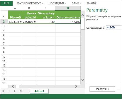 Parametr wprowadzony w okienku jest używany w komórce D2