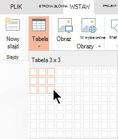 Na karcie Wstawianie wybierz pozycję Tabela.