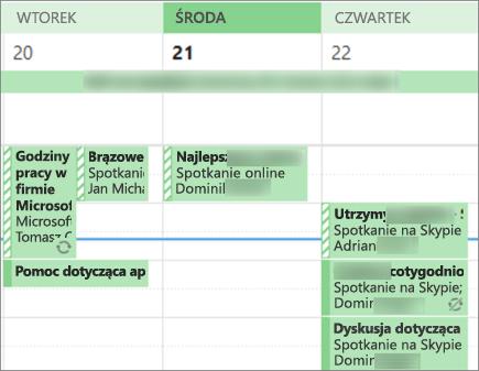 Sposób, w jaki kalendarz będzie wyglądał, gdy jest udostępniany użytkownikowi z ograniczonymi szczegółami.