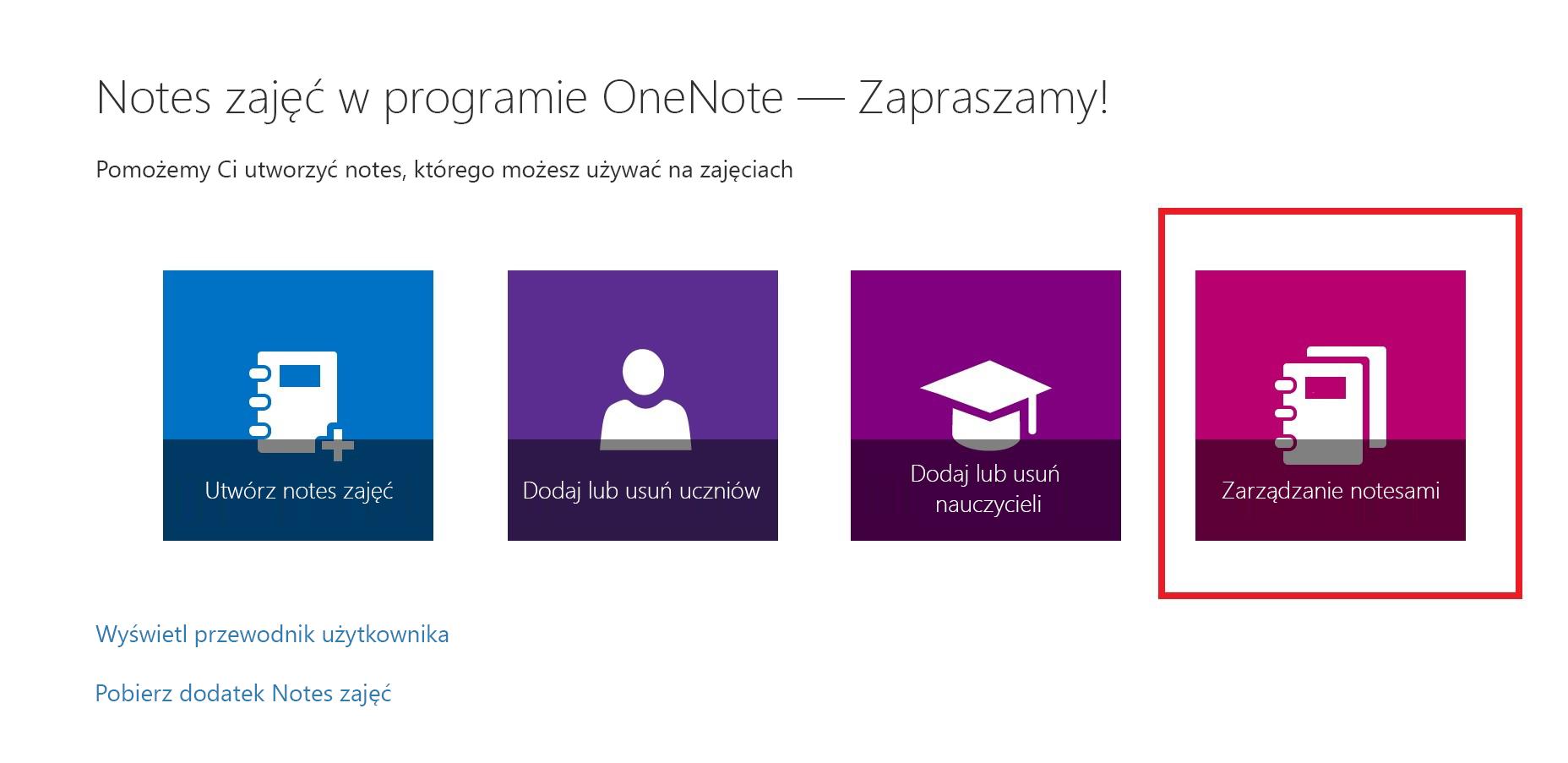Zrzut ekranu przedstawiający ikonę Lista notesów.