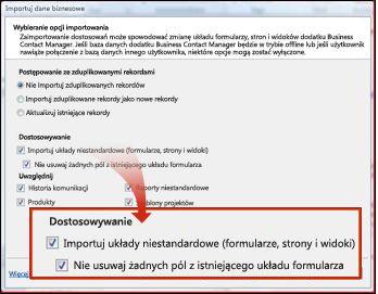 Sekcja dostosowań importowania w oknie importu